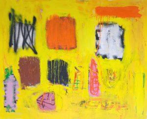 Jorge Nava painting oil and spray on canvas 2018