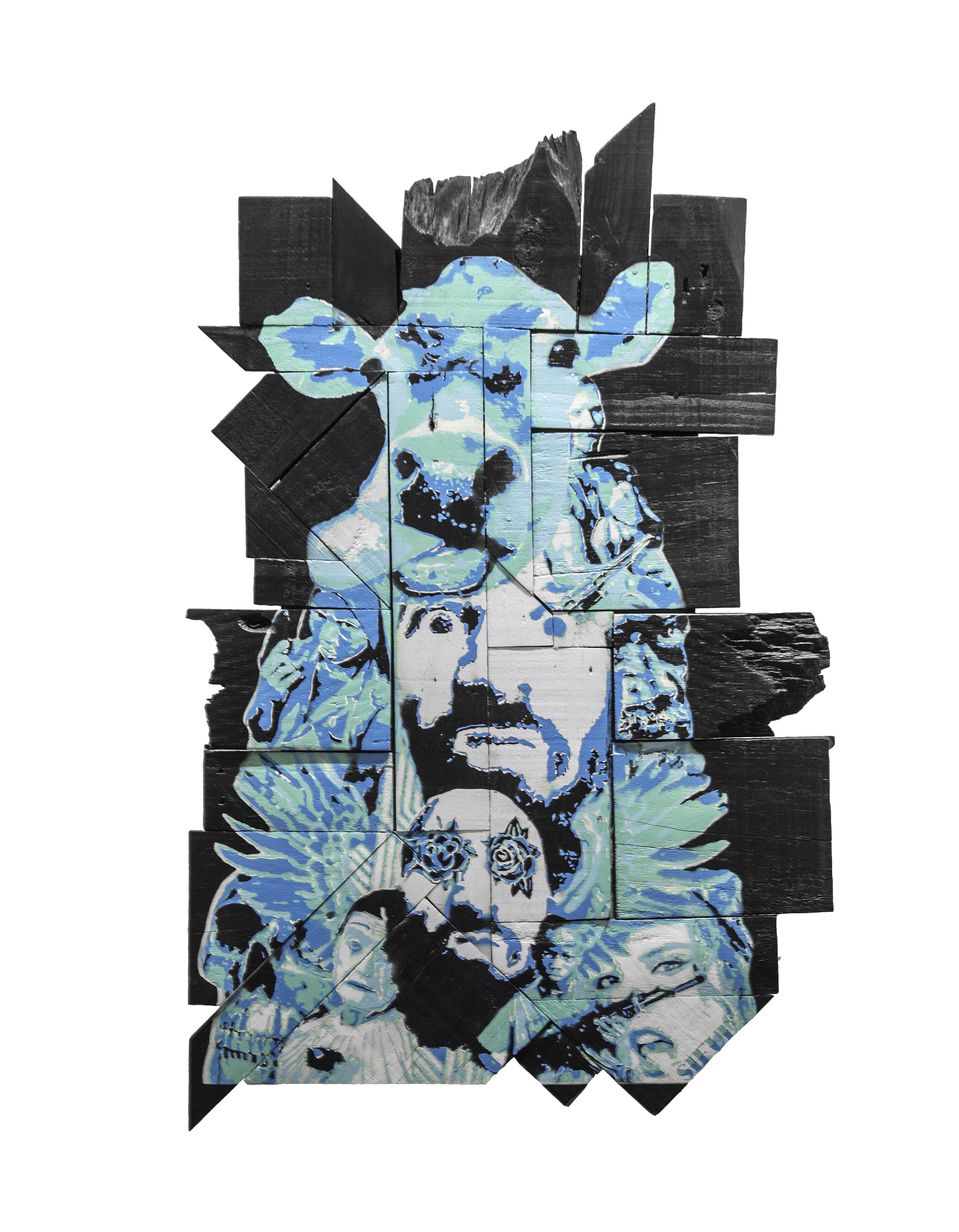 Artist Kleber Cianni stencil work on wood