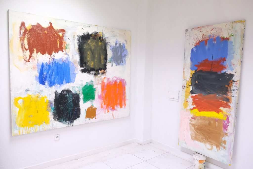 Jorge Nava´s abstract paintings in his studio 2018