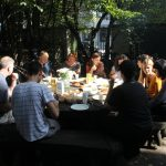 GlogauAIR artists in residency eat together and enjoy recreation and art in the garden space