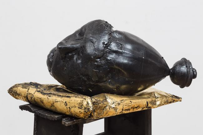 Detail of Bladder Head, Wax, steel and pigment. 180 cm x 30 cm x 30 cm. by Ben Reilly