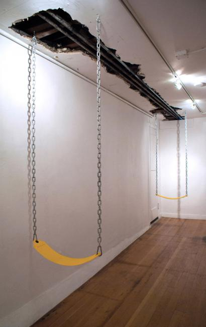 Two fully functional swings were hung facing each other. Above, the buildings' architectural skeleton was exposed so as to make the user conscious of the structure that made their interaction possible. The title was taken from Apple's video communication app for their iOS mobile operating system