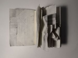 Book of obstacles (dirty), detail Paper and graphite Opened aprox. 15 x 24 x 12 cm, 2014 by David Gonçalves