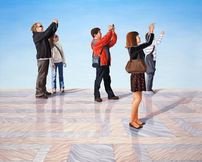 People who hold a camera 2 Oil on linen 130.3x162cm, 2012 by Hyoyoun Lee