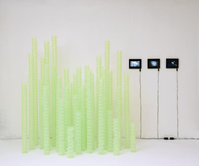 Manufracture Series: Plastic Injection Molding- Green Bamboo installation/ plastic containers and 3-channel video approx. 244 x 147 x 173 (dimensions variable) 2016