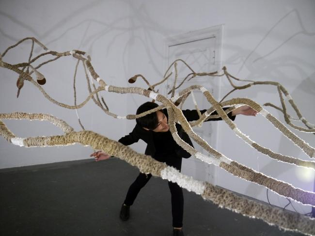 Dendromacy/Berlin Arduino and vegetal fibers, 450x300 cm, 2015