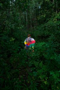work by former resident artist at glogauair, Maria Santi, Poncho Paintings Performance in Nature. Project. Variable 2016