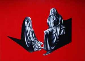 Fernanda Soriano painting 'Waiting' GlogauAIR Artist in Resident Berlin