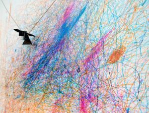 Fascinate Polargraph, code, canvas, alcohol-based ink 1.2m x 2.4m 2014