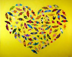 work by former resident artist at glogauair, Sanghee Ahn, 87 winged hearts. Acrylic on canvas. 137 x 113 cm, 2016