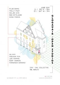 a Design showing the building of the GlogauAIR art residency and project space in Berlin Kreuzberg with colorful graphic design and the names of the resident artists and the project space exhibition digi-gal