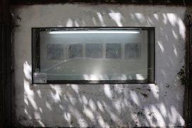 installation in GlogauAIR's showcase window by resident artist Yaewon Yun, May 2019