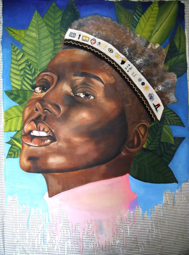 painting by Khaleb Brooks featuring a portrait of a black person with a crwon and plants in the background for the Stonewall 50th Anniversary Exhibition at GlogauAIR