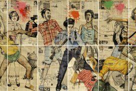 Artwork by Rinaldo Hopf, Stonewall, work on paper, print, figures, stonewall riots, 1969