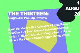 "Bright green and purple poster showing the title of the event"" the thirteen"" and the artists names"