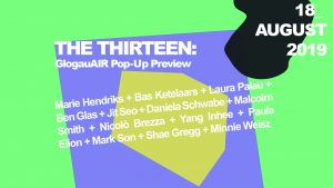 """Bright green and purple poster showing the title of the event"""" the thirteen"""" and the artists names"""