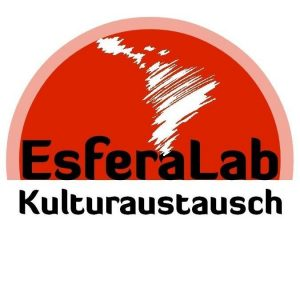 logo of Esfera Lab e.V. in Berlin, an association for cultural exchange between Latin America and Europe, featuring a red semi-circle and an abstract representation of South and Central America