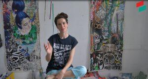 Molly Must Artist Interview, GlogauAIR resident artist, spring 2019, Kreuzberg, Berlin, USA artist, painter, collage artist, urban art