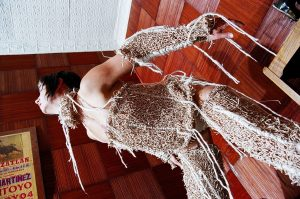 Photograph of costume made of elastic bands and string by artist Astrid Lloyd, resident at GlogauAIR 2019