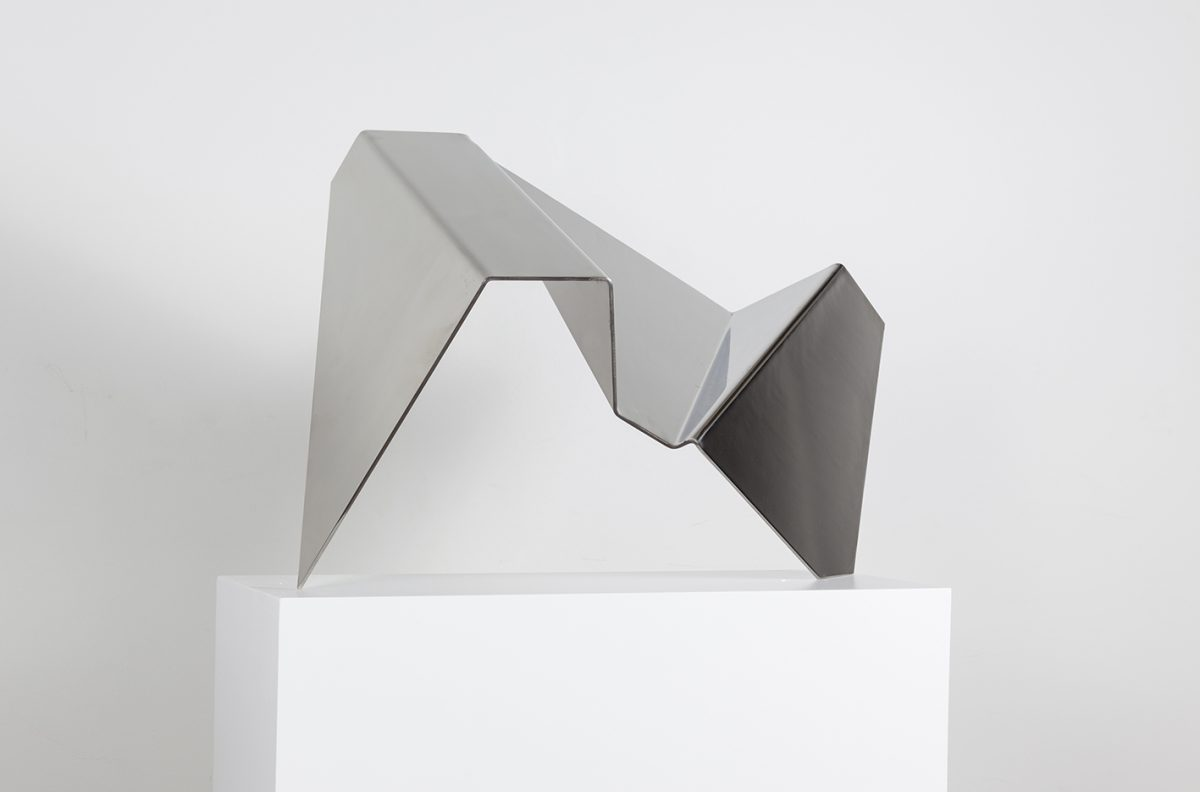 Photograph of abstract sculptural piece by artist Alejandro Urrutia, resident artist at GlogauAIR 2019