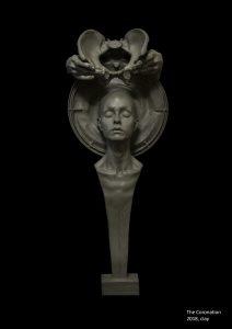 Photograph of clay bust sculpture by artist Alexandra Slava, resident at GlogauAIR 2019