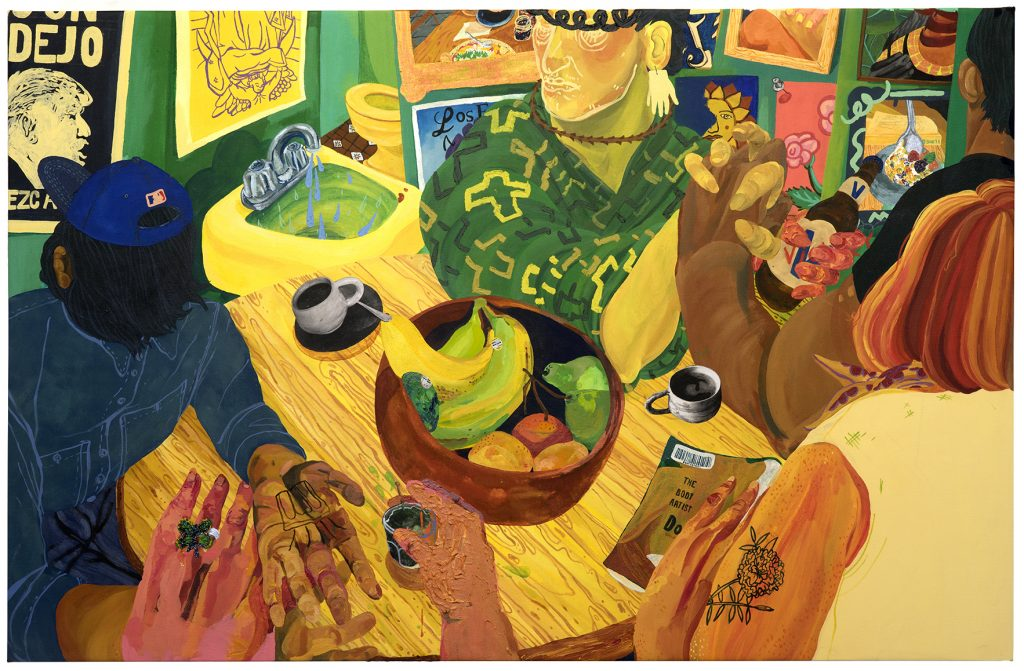 Image of a painting showing people sat round a table by artist Nicole Dyer, resident at GlogauAIR October 2019