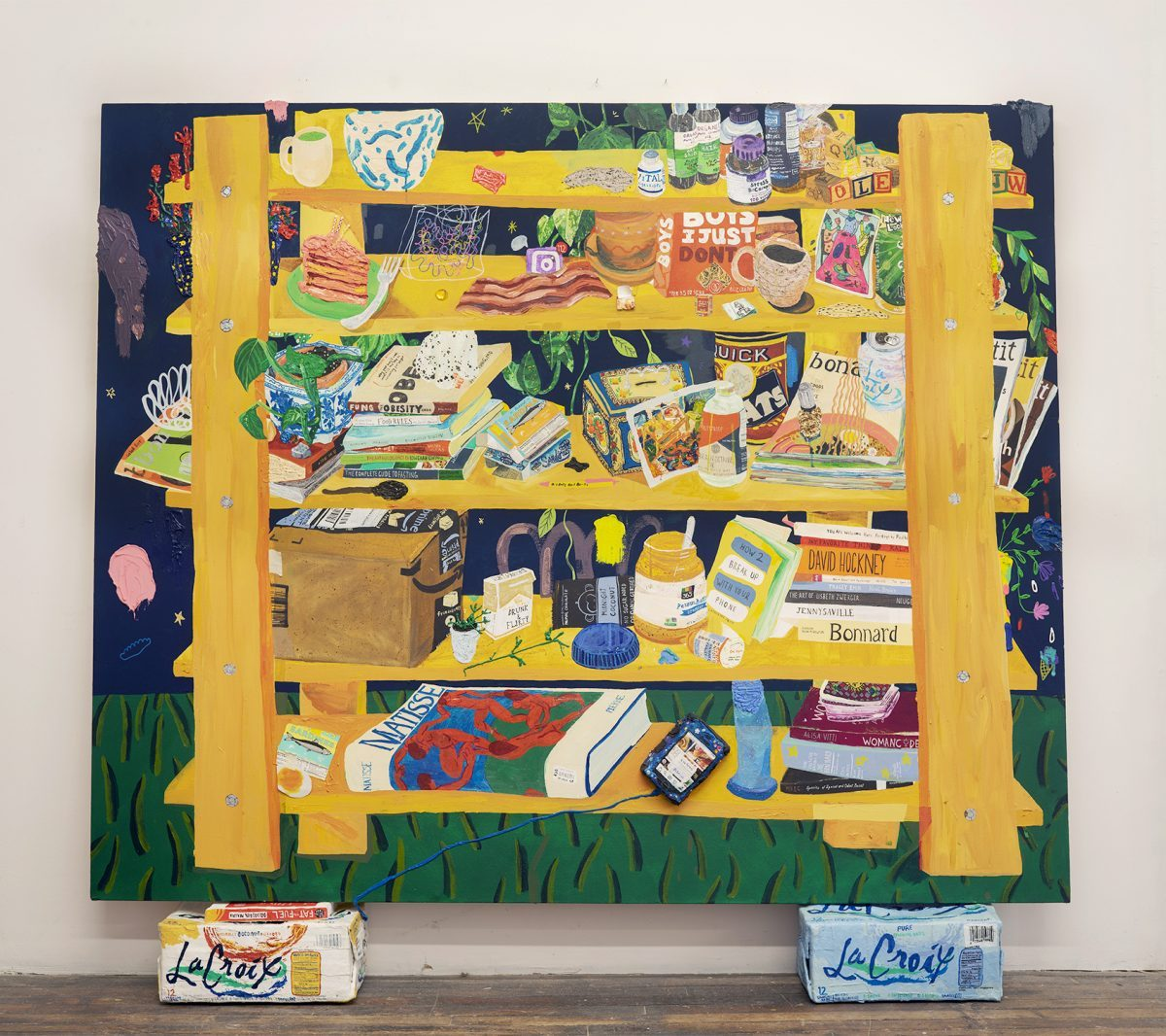 Photograph of painting of shelves of food and household items by artist Nicole Dyer, resident at GlogauAIR October 2019