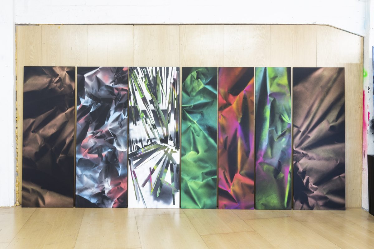 Photograph of several abstract paintings by artist Ismael Iglesias, resident artist at GlogauAIR October 2019