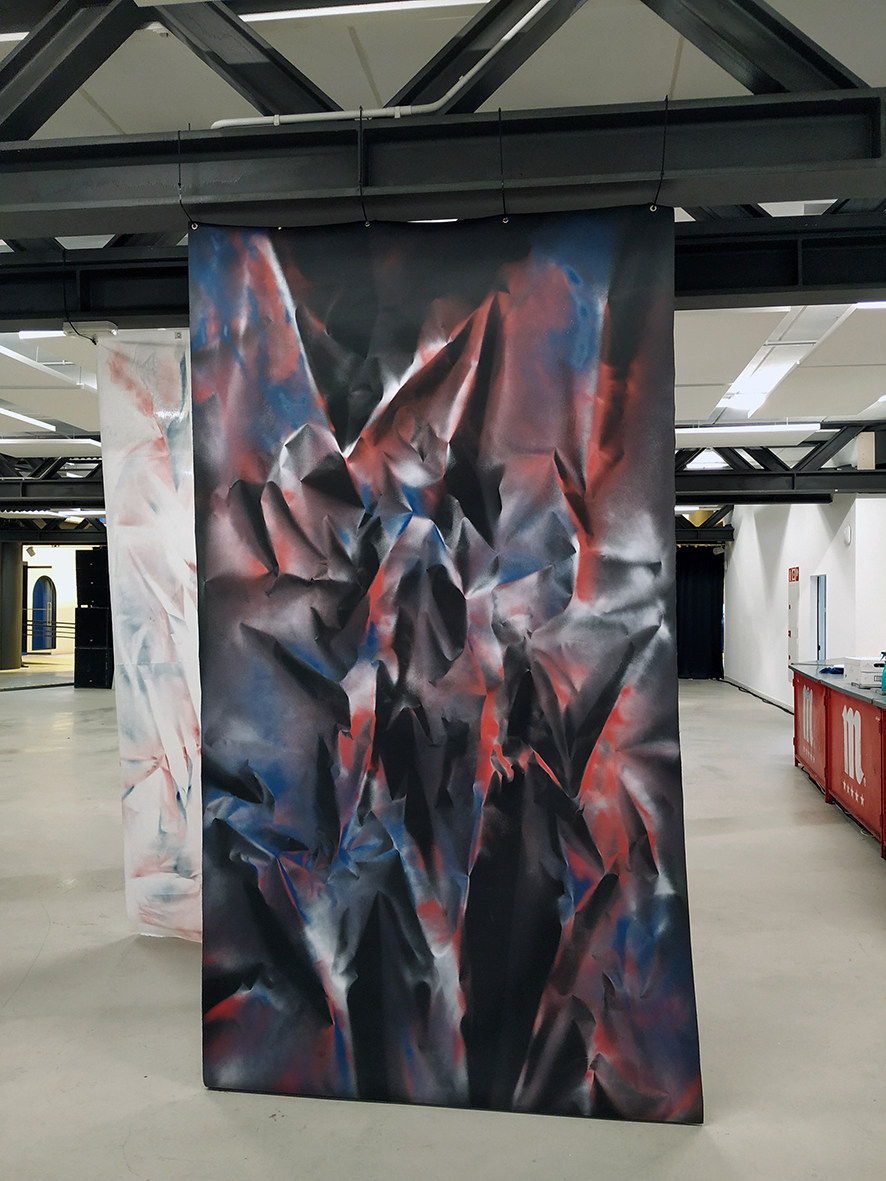 Photograph of painting in exhibition space by Ismael Iglesias, resident at GlogauAIR October 2019