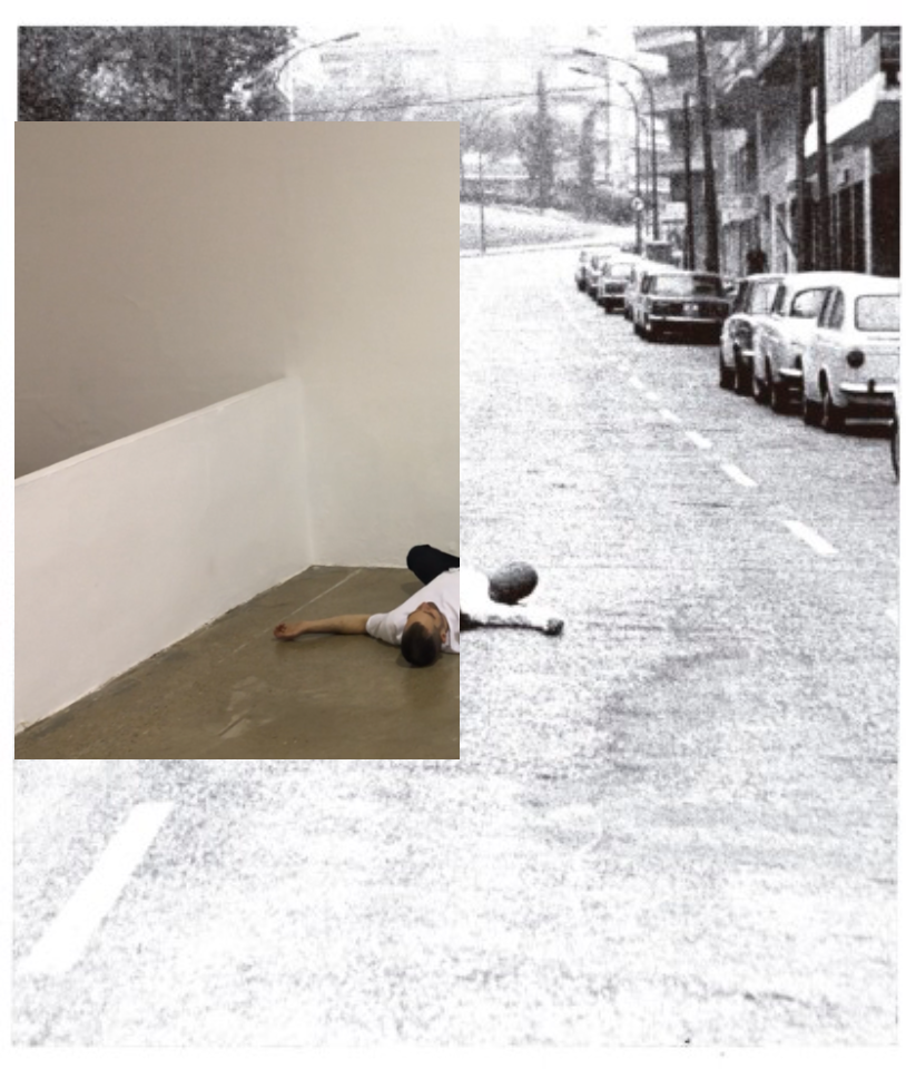 Photographic work by artist Nestor Garcia, showing a person lying on the ground lying in a road juxtaposed with person lying on the ground in a gallery space.
