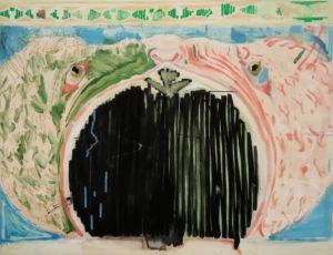 Daniel-Dobarco-La-vida-debe-responder-a-la-respuesta-de-la-muerte-Oil-crayon-and-marker-on-canvas-114-x-148-cm-2018