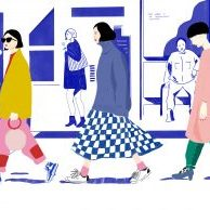 Drawing of three women walking in the foreground and people sat down in the background in shopfronts. By artist Pamela Guest, resident at GlogauAIR January 2020
