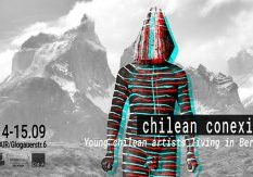 Distorted image on man in front of mountain with the chilean festival texy