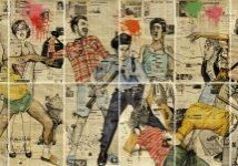 Artwork by Rinaldo Hopf, Stonewall, work on paper, print, figures, stonewall riots, 1969