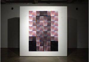 "Face(ted) Campaign 2015 Xerox prints, colored printing ink. 80""x60"""