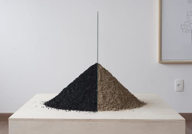 work by former resident artist at glogauair 2017,Noara Quintana, Questions/ Answers Sand, glass and coal dust, 90 x 60 x 70 cm, 2016