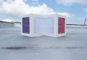 Tadasuke Jinno, former resident artist at GlogauAir, WHITE BOX,2016 silk wood acrylic, 20(w)x11.5(H)X14(d) inches